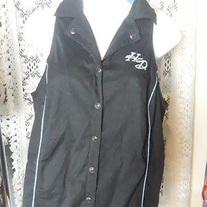 Harley Davidson Womens Button Up Black Blue vest